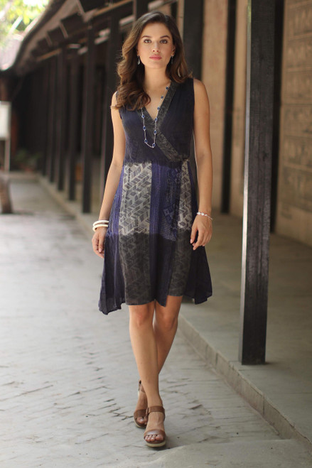 Crinkle Rayon Blue and Taupe Wrap Dress 'Blue Fusion'