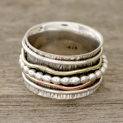Patterned Sterling Silver Spinner Rig with Brass and Copper 'Dotted Flair'