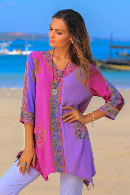 Fuchsia and Purple Batik Rayon Tunic from Bali 'Balinese Twilight'