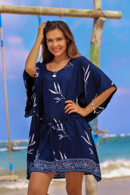 Batik Rayon Caftan in Midnight and White from Bali 'Balinese Breeze in Midnight'