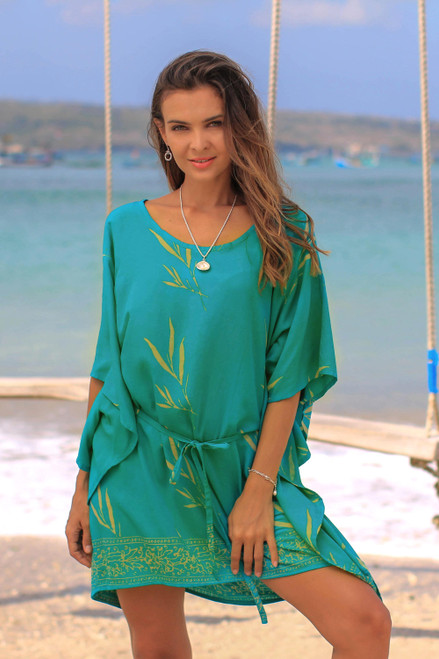 Batik Rayon caftan in Turquoise and Lemon from Bali 'Balinese Breeze in Turquoise'