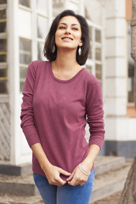 Knit Cotton Blend Pullover in Cerise from Peru 'Warm Valley in Royal Cerise'
