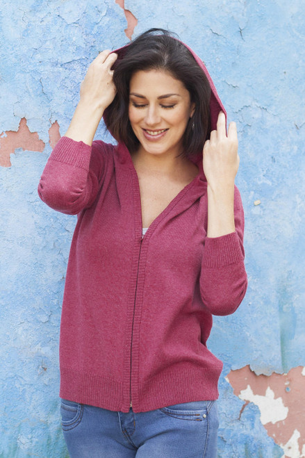 Cotton Blend Hooded Cardigan in Cerise from Peru 'Simple Delight in Cerise'