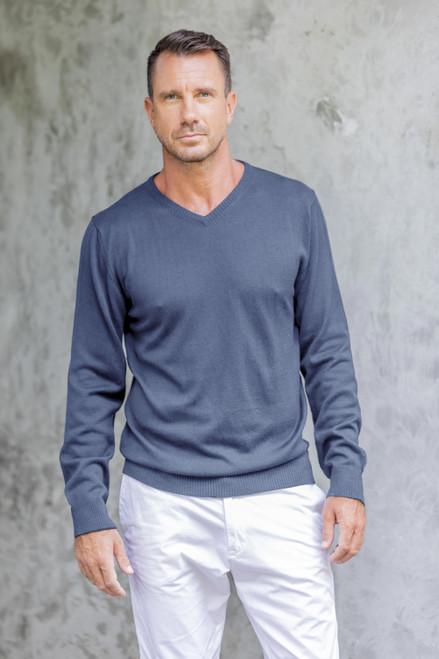 Men's V-Neck Cotton Blend Pullover in Indigo from Peru 'Warm Adventure in Indigo'