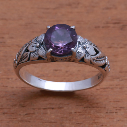 Floral Amethyst Single-Stone Ring from Bali 'Floral Glint'