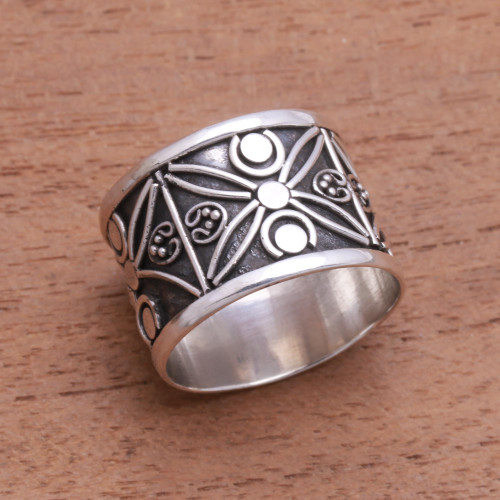 Patterned Sterling Silver Band Ring from Bali 'Encircle with Beauty'