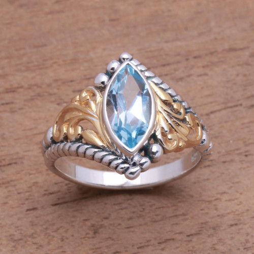 Gold Accented Marquise Blue Topaz Single-Stone Ring 'Marquise Order'