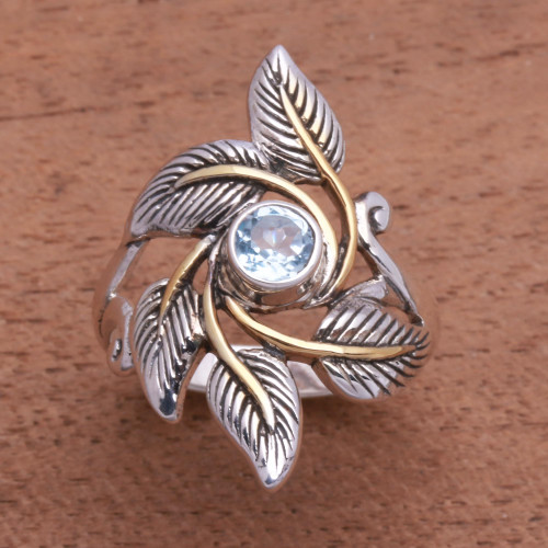 Leafy Gold Accented Blue Topaz Cocktail Ring from Bali 'Wreathed in Leaves'