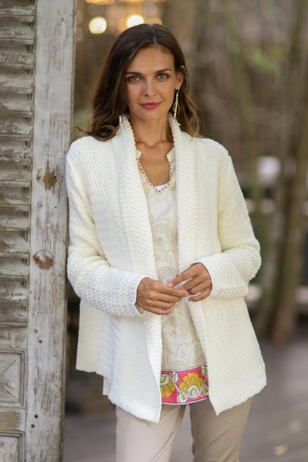 Knit Cotton Cardigan in White from Thailand 'Zigzag Knit in White'