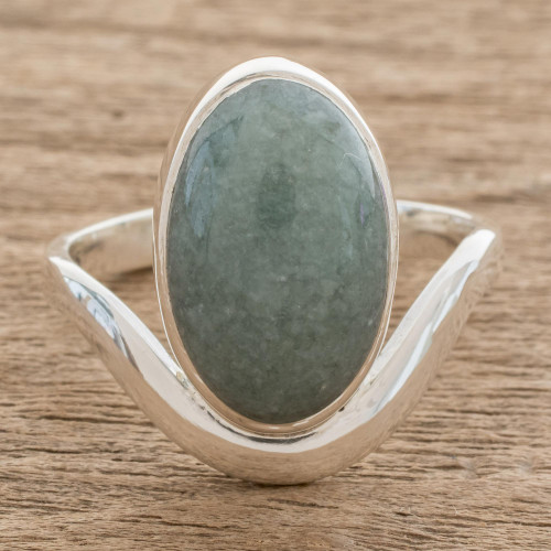 Oval Apple Green Jade Cocktail Ring from Guatemala 'Mystery of the Earth'