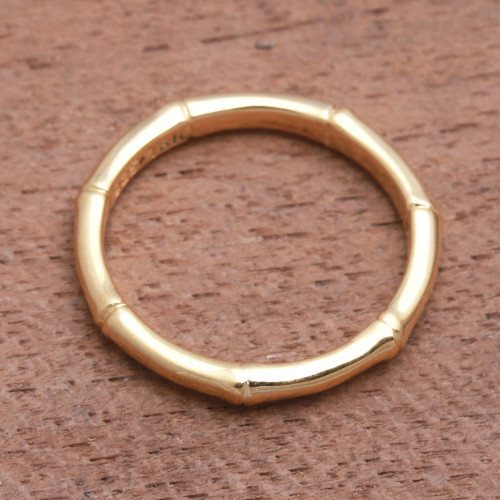 Bamboo Motif Silver Band Ring Bathed in 18k Gold 'Bamboo Regeneration'