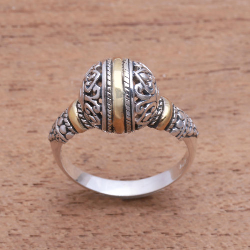 Round Gold Accented Sterling Silver Cocktail Ring 'Patterned Orb'