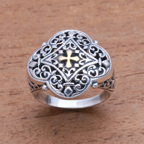 Cross-Themed Gold Accented Sterling Silver Signet Ring 'Jagaraga Prince'