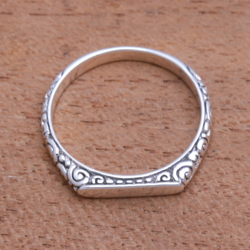 Swirl Pattern Sterling Silver Band Ring from Bali 'Intaglio Curls'