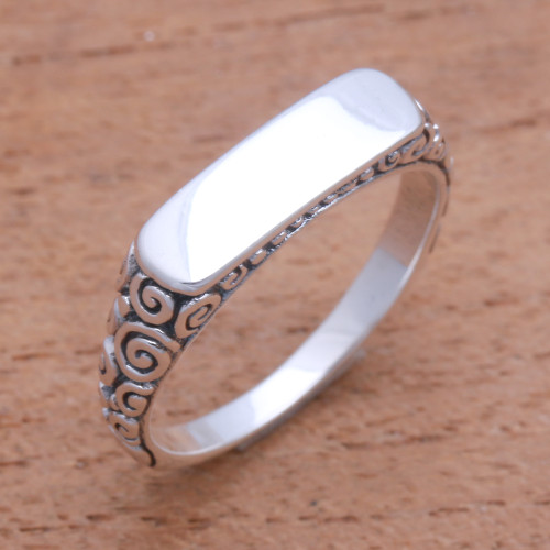 Curl Pattern Sterling Silver Band Ring from Bali 'Intaglio Beauty'