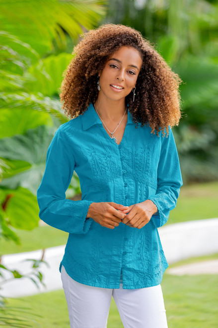 Turquoise Cotton Button-Up Blouse 'Lily of the Incas in Turquoise'