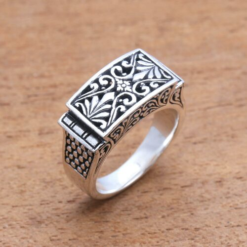 Vine Pattern Sterling Silver Signet Ring Crafted in Bali 'Extraordinary Vines'