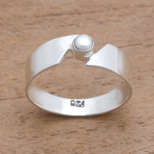 Cultured Pearl Band Ring Crafted in Bali 'Glowing Band'