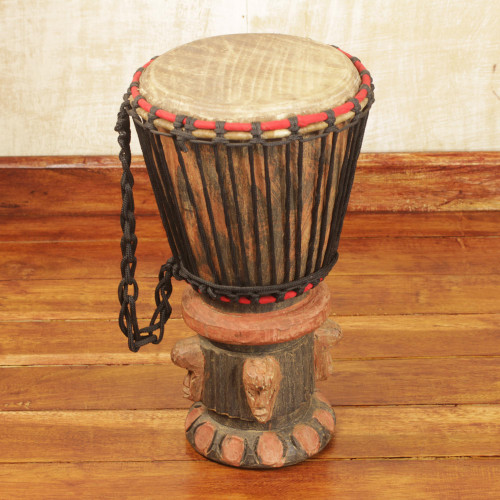 Fair Trade Wood Djembe Drum 'Think Together'
