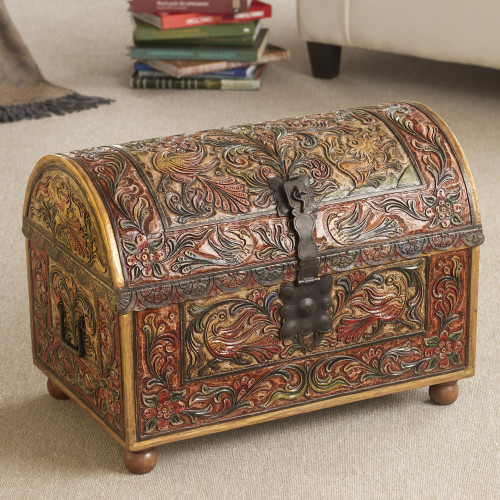 Colonial Wood Leather Brown Chests Handmade Furniture 'Royal Lion'