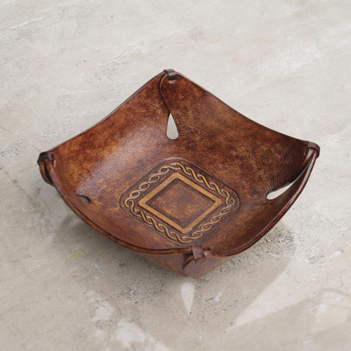 Artisan Crafted Leather Square Catchall from the Andes 'Brown Lasso'