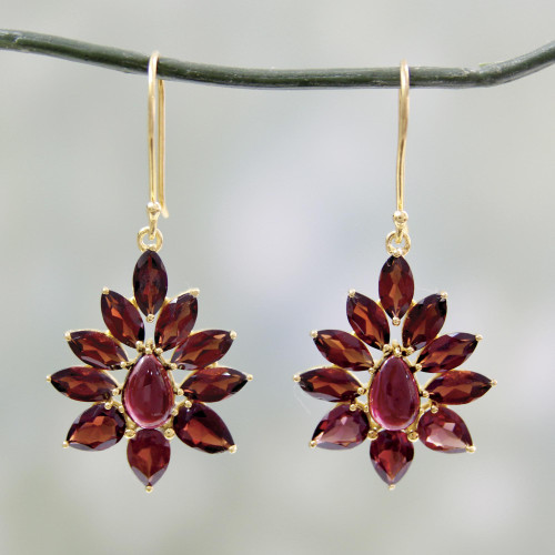 Hand Crafted 18k Gold Plated Earrings with Garnets 'Claret Sunburst'