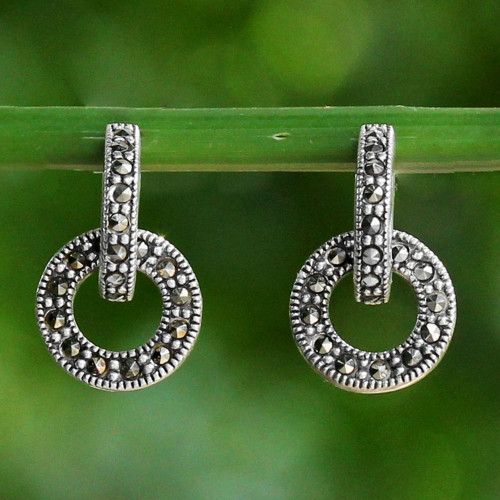Marcasite and Sterling Silver Drop Earrings from Thailand 'Bold Connection'
