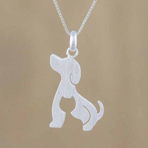 Dog and Cat Sterling Silver Pendant Necklace from Thailand 'Steadfast Companions'