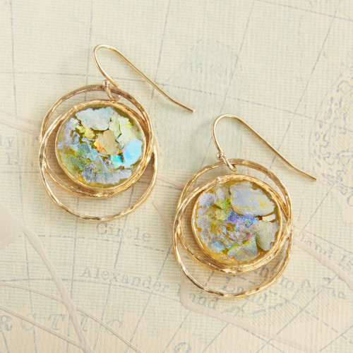 Gold Plated Roman Glass Earrings 'Roman Mirror'