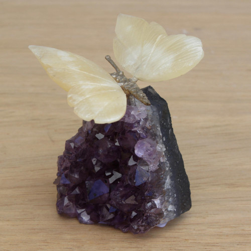 Gemstone Butterfly Sculpture in Honey Calcite and Amethyst 'Honeyed Butterfly'