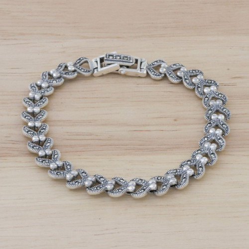 Marcasite and Sterling Silver Link Bracelet from Thailand 'Abstract Love'