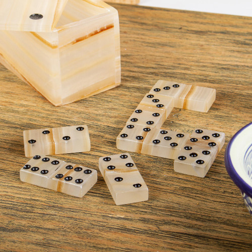 Beige Onyx Domino Set from Mexico 'Never Lose'