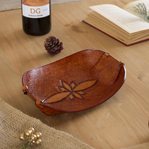 Handcrafted Leather Catchall from Peru 'Gothic Flower'