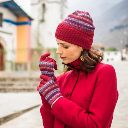 Striped 100 Alpaca Knit Hat from Peru 'Andean Art'