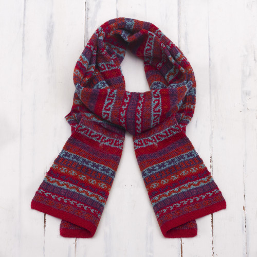 Striped 100 Alpaca Wrap Scarf Crafted in Peru 'Andean Art'