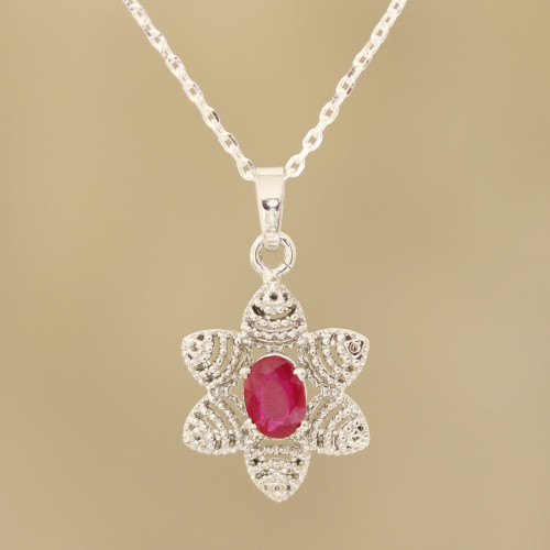 Foral Faceted Ruby Pendant Necklace from India 'Snow Flower'