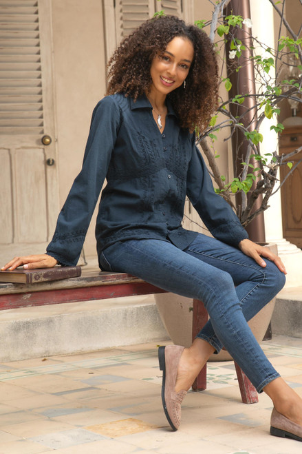 Lily of the Incas Button-front Navy Blue Blouse 'Lily of Incas in Navy'