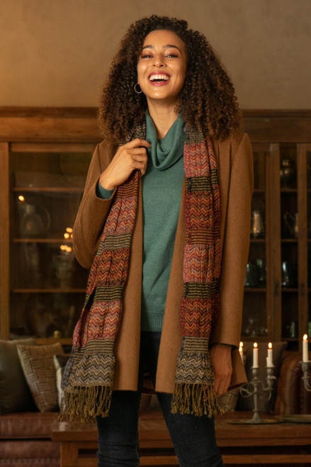 Wave Pattern Wool Scarf from India 'Autumn Waves'