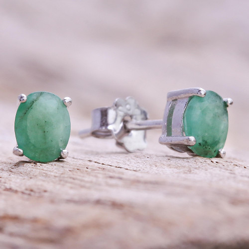 Faceted Emerald Stud Earrings from Thailand 'Verdant Marvel'