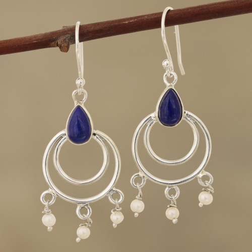 Lapis Lazuli and Cultured Pearl Dangle Earrings from India 'Royal Aesthetic'