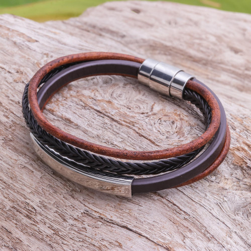 Leather Strand Bracelet in Brown from Thailand 'Mighty Strength in Brown'
