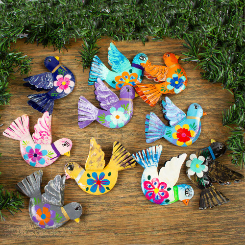 Handcrafted Hand Painted Garland of Floral Mexican Birds 'Festive Doves'