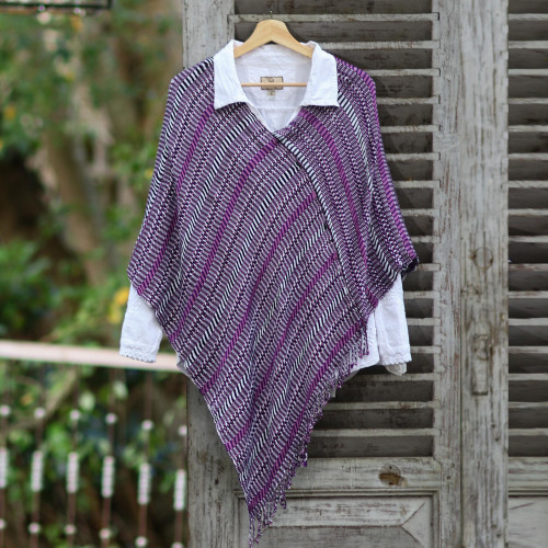 Guatemalan Handwoven Cotton Poncho in Pink and Purple 'Amethyst Intrigue'