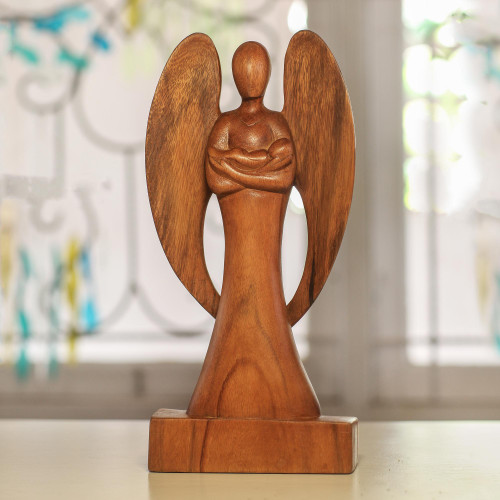 Hand Carved Wood Angel and Baby Sculpture 'Guardian Angel'