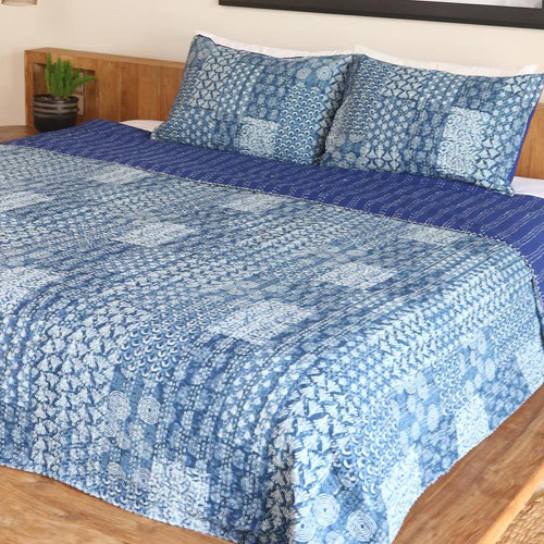 Blue and White Cotton Kantha Bedspread and Shams 3 Piece 'Kantha Charm in Blue'