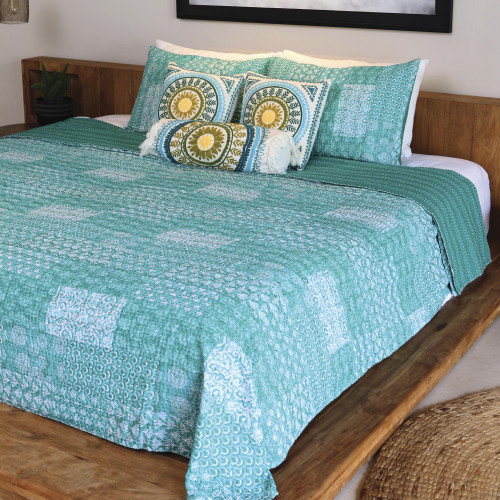 Kantha Cotton Bedspread and Shams in Seaglass 3 Piece 'Kantha Charm in Turquoise'