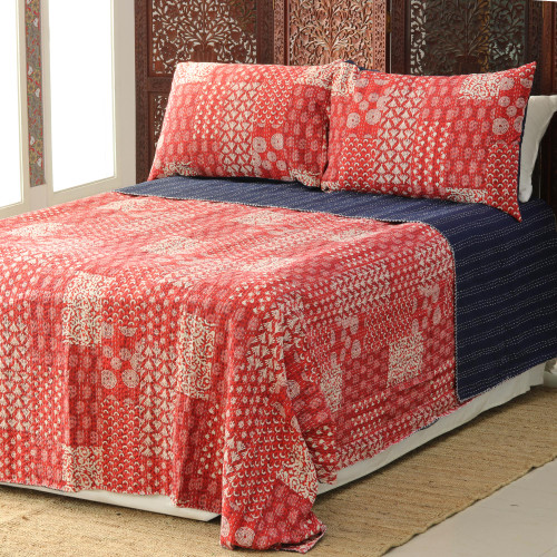 Red Kantha Stitch Cotton Bedding Set from India 3 Pcs 'Kantha Charm in Red'