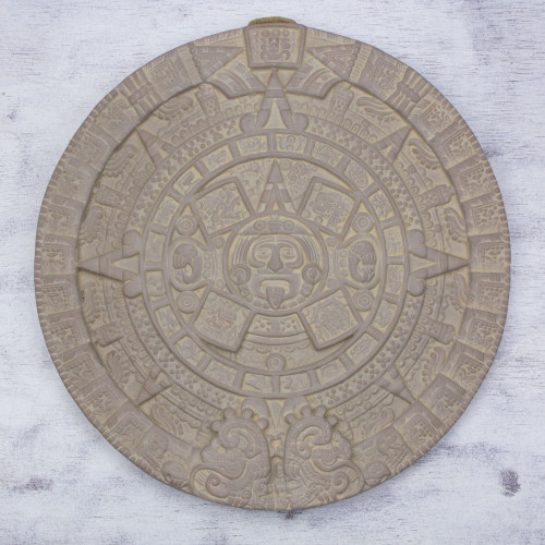 Mexican Archaeological Ceramic Plaque Crafted by Hand 'Frozen Aztec Sun Stone'