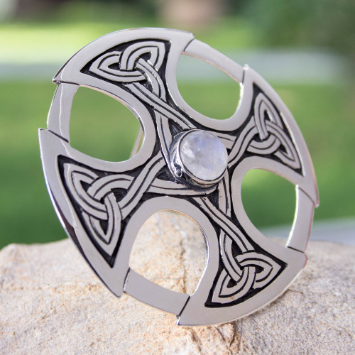 Handcrafted Moonstone and Silver Cross Brooch Pin 'Celtic Cross'