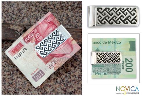 Sterling silver money clip 'Aztec Frieze'